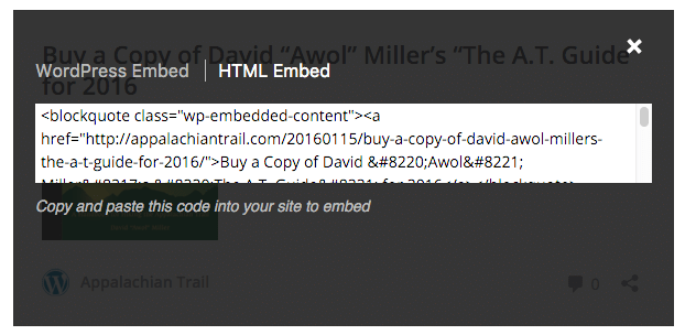 WordPress HTML Embed
